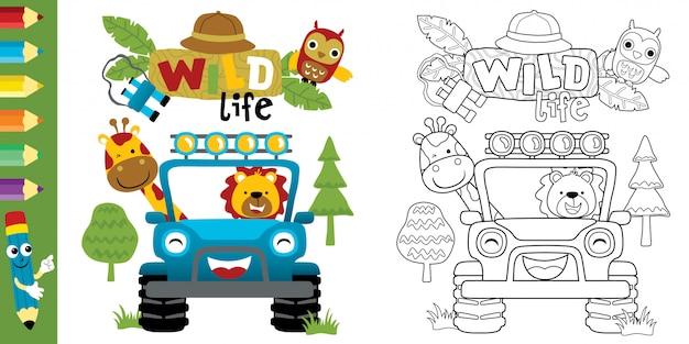 Zabawna Kreskówka Zwierząt W Samochodzie Premium Wektorów