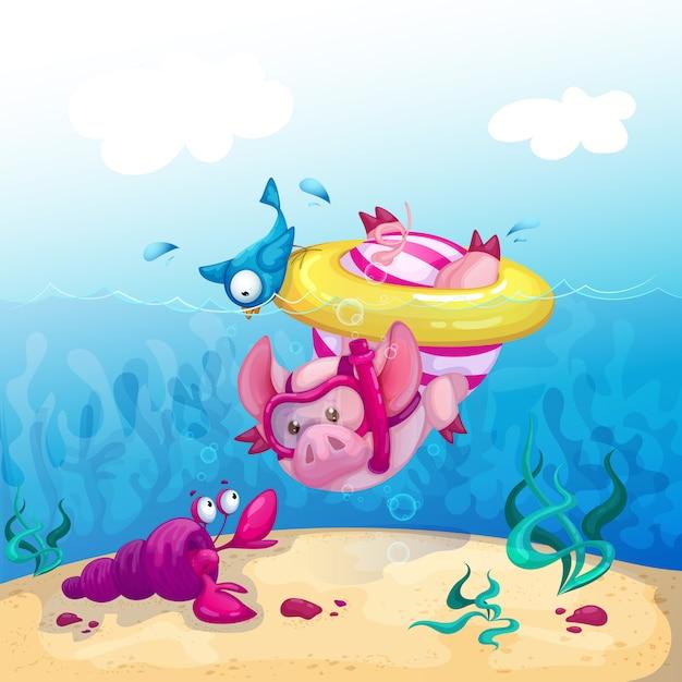 Zabawna świnia Nurkuje W Morzu I Patrzy Na Raka Morskiego. Premium Wektorów