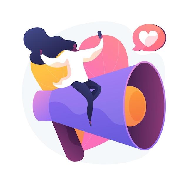 Zabawne Blogowanie. Tworzenie Treści, Streaming Online, Blog Wideo. Młoda Dziewczyna Co Selfie Dla Sieci Społecznościowej, Dzielenie Się Opiniami, Strategia Autopromocji Ilustracja Wektorowa Na Białym Tle Koncepcja Metafory Darmowych Wektorów