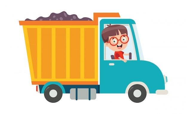 Zabawne Dziecko Za Pomocą Ciężarówki Premium Wektorów