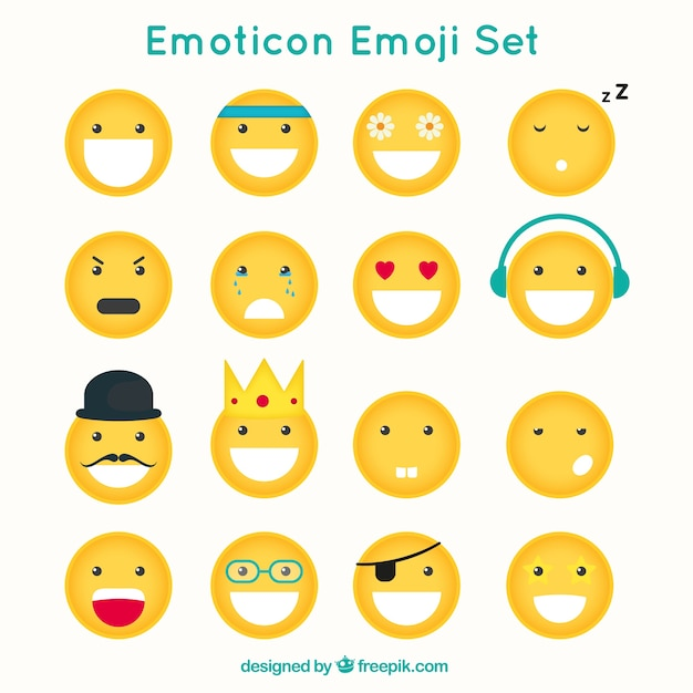 Zabawne emotikony z różnych twarzach Darmowych Wektorów