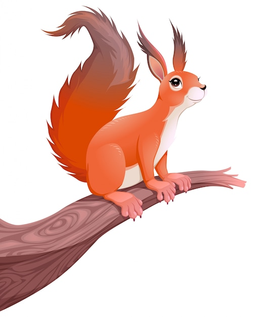 Zabawne Wiewiórki Na Gałęzi Vector Cartoon Samodzielnie Zwierzęcia Darmowych Wektorów