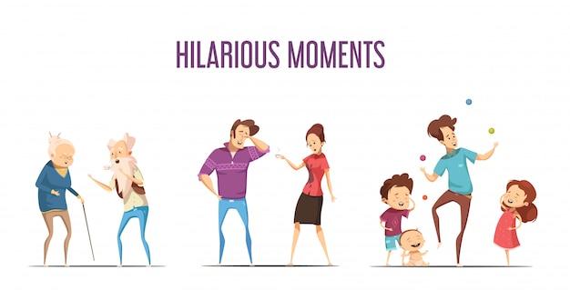 Zabawne życie śmieszne chwile 3 kreskówki retro ikony ustawiać z parami i młodą rodziną odizolowywali wektor Darmowych Wektorów