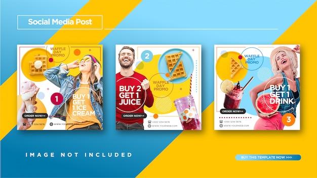 Zabawny i kolorowy styl postu w stylu fast food & culinary instagram Premium Wektorów