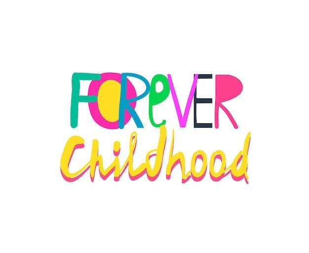 Zabawny Kolorowy Kolaż Napisów Dla Dzieci, Ulotki Lub Koszulki, Dziecinny Abstrakcyjny Znak. Premium Wektorów