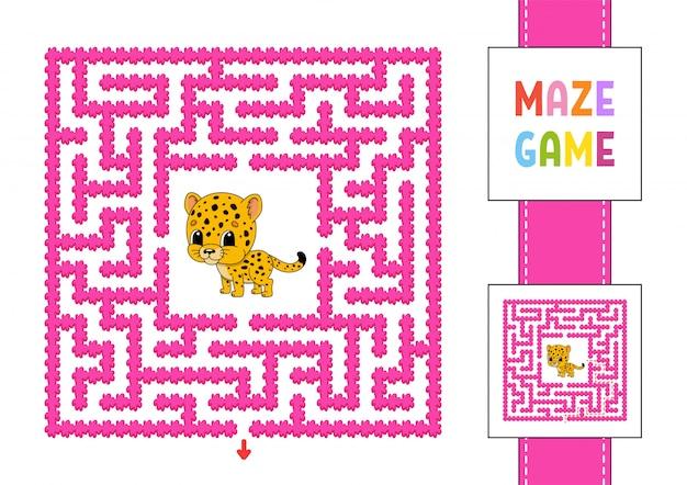 Zabawny kwadratowy labirynt. gra dla dzieci. puzzle dla dzieci. Premium Wektorów