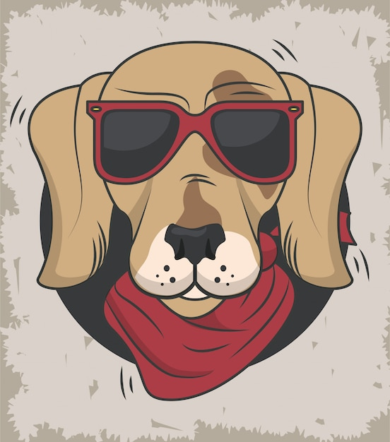 Zabawny Pies W Fajnym Stylu Premium Wektorów