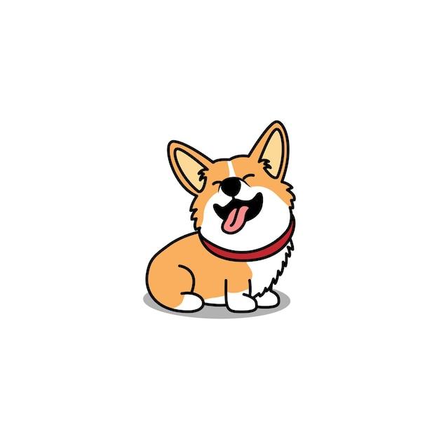 Zabawny Pies Walijski Corgi Siedzi I Uśmiecha Się Kreskówka Premium Wektorów