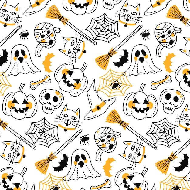 Zabawny ręcznie rysowane wzór halloween Darmowych Wektorów