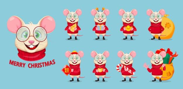 Zabawny Szczur Na Wesołych świąt Premium Wektorów