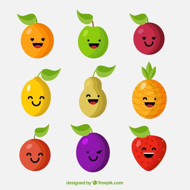 Zabawny wybór charakteru owoców Darmowych Wektorów