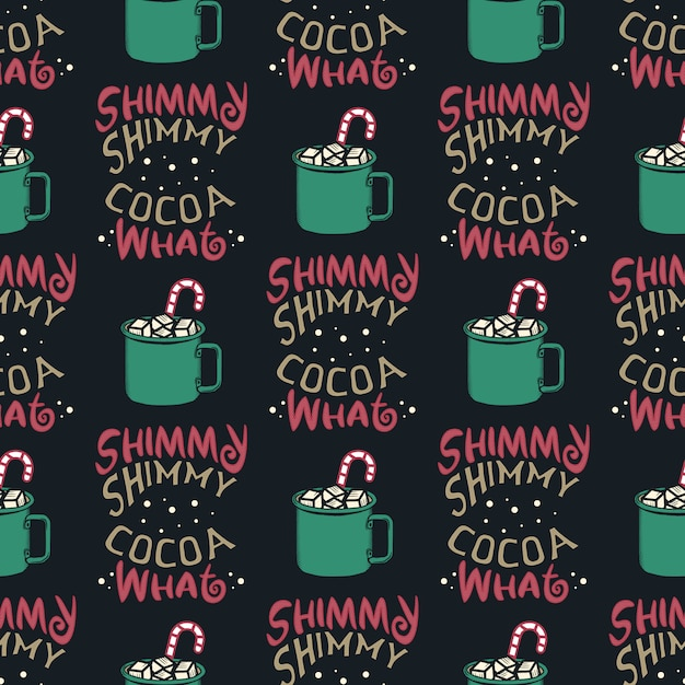Zabawny wzór świąteczny, nadruk graficzny na brzydki sweter na przyjęcie świąteczne, dekoracja z kubkiem kakaowym i cukierkami. zabawny cytat typografii. Premium Wektorów