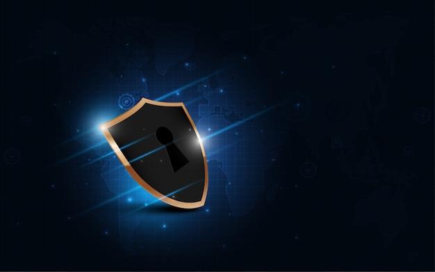 Zabezpieczona Koncepcja Ochrony Tarczy Ochronnej Bezpieczeństwo Cyber Cyfrowa Technologia Abstrakcyjna Premium Wektorów