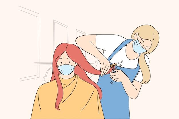 Zabiegi W Gabinecie Kosmetycznym W Okresie Epidemii Covid-19. Premium Wektorów