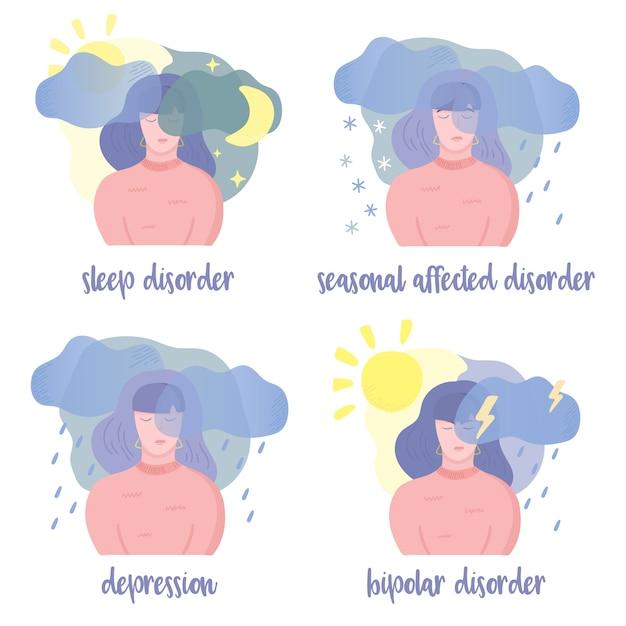 Zaburzenia zdrowia psychicznego Premium Wektorów