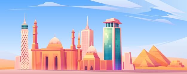 Zabytki Egiptu, Ekran Mobilny Panoramę Miasta Kair Darmowych Wektorów