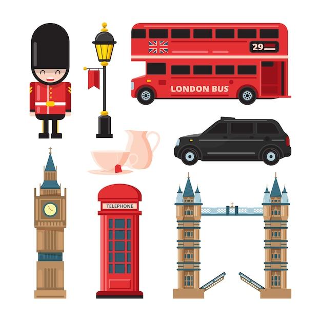 Zabytki i różne obiekty kultury w londynie Premium Wektorów