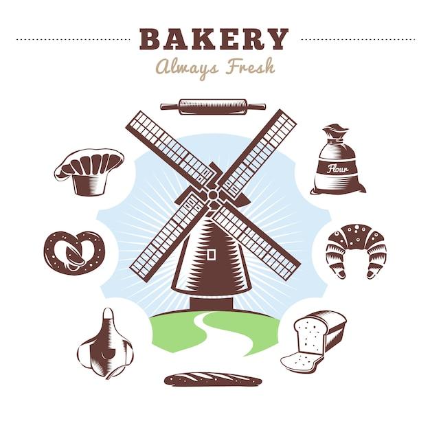 Zabytkowa Piekarnia Ustawia Młyn I Izolowaną Piekarnię Z Tytułową Piekarnią Zawsze świeżą Darmowych Wektorów