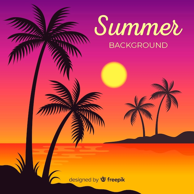 Zachód słońca na plaży z palmowymi sylwetkami Darmowych Wektorów