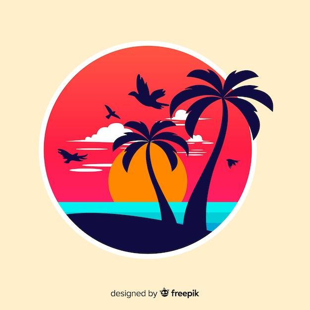 Zachód Słońca Na Plaży Darmowych Wektorów