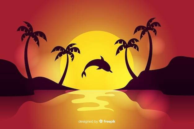 Zachód Słońca W Tle Plaży Darmowych Wektorów