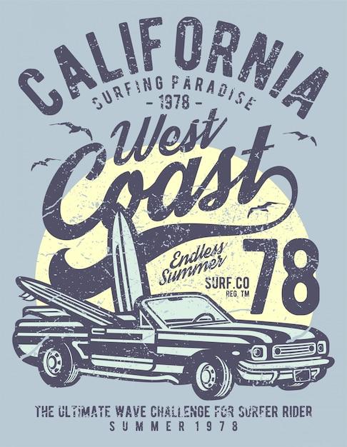 Zachodnie wybrzeże kalifornii Premium Wektorów