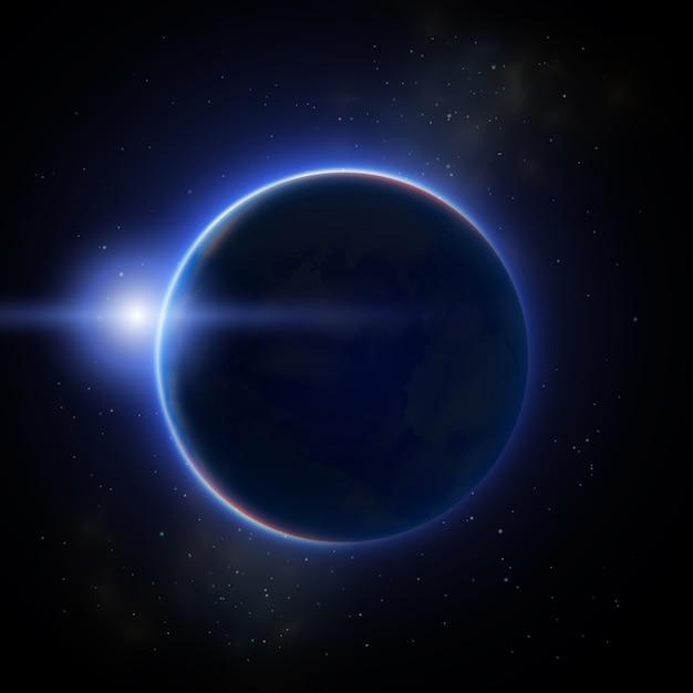 Zaćmienie Musującego Księżyca Na Ciemnej Płaskiej Ilustracji Darmowych Wektorów