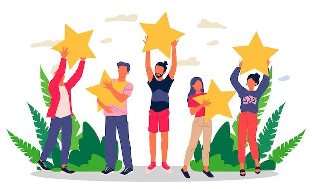 Zadowoleni Klienci Oceniający Jakość Usług Z Gwiazdkami Recenzji Premium Wektorów