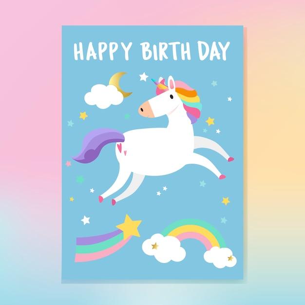 Zadowolony urodziny jednorożca karty wektor Darmowych Wektorów