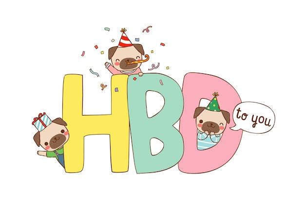Zadowolony Urodziny Karty Z Kreskówka Mopsy W Płaski