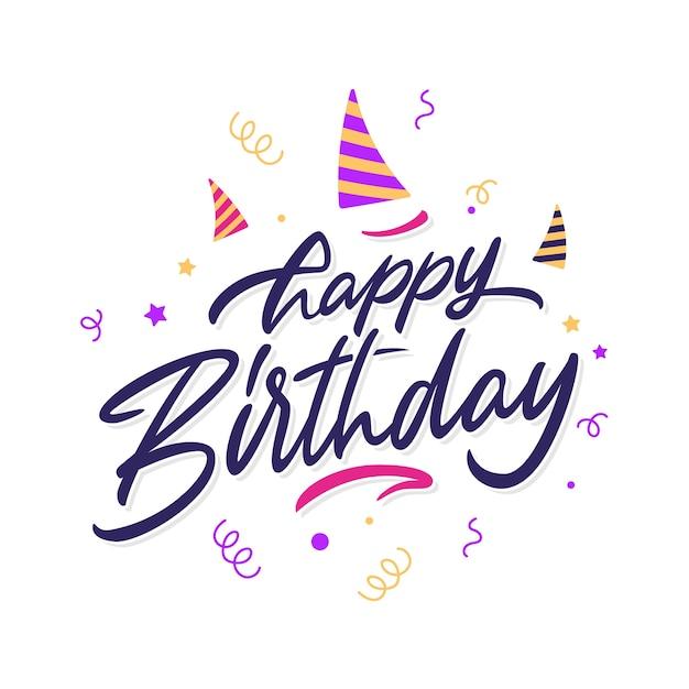 Zadowolony Urodziny Napis Koncepcja Darmowych Wektorów