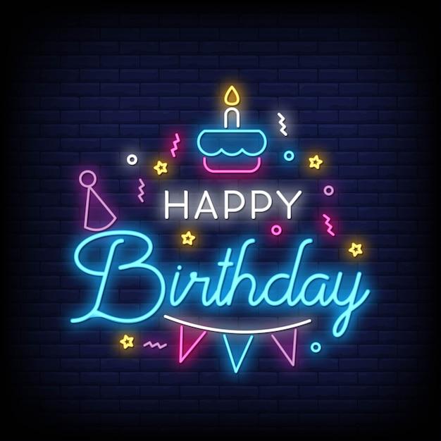 Zadowolony urodziny napis neon tekst Premium Wektorów