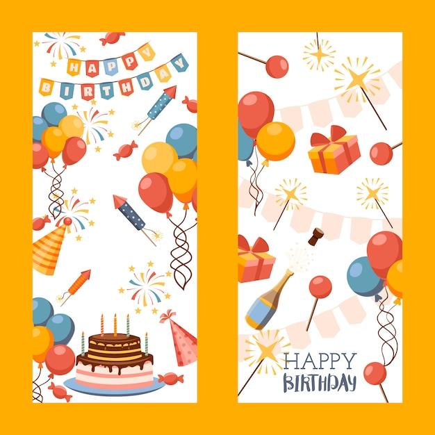 Zadowolony Urodziny Transparent, Kartkę Z życzeniami, Tag Prezent Premium Wektorów