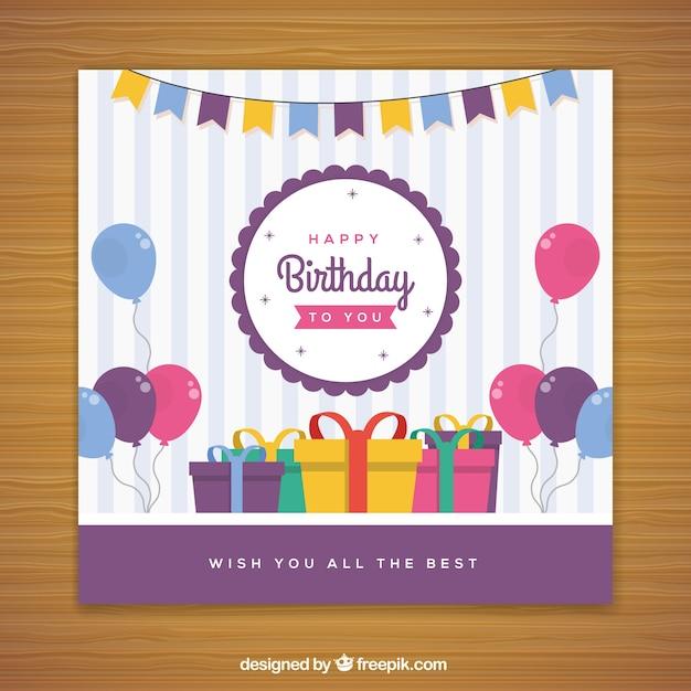 Zadowolony Urodziny W Stylu Płaski Darmowych Wektorów