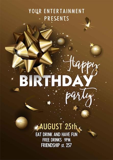 Zadowolony Urodziny Zaproszenie Plakat Szablon. Premium Wektorów