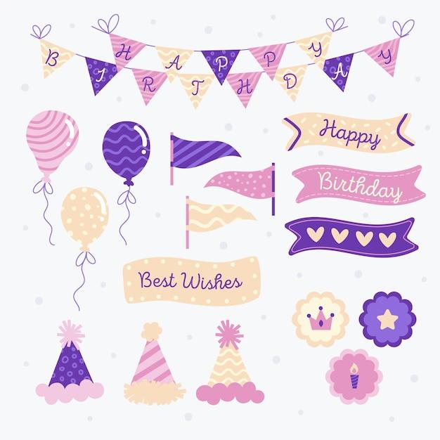 Zadowolony Urodziny Zestaw Fioletowy Notatnik Premium Wektorów