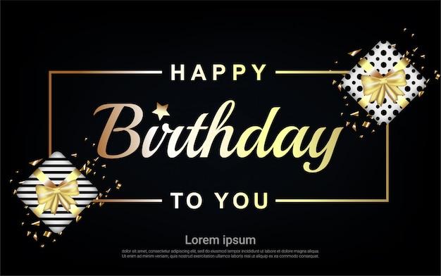 Zadowolony Urodziny Złoty List Z Ramą I Pudełko Premium Wektorów