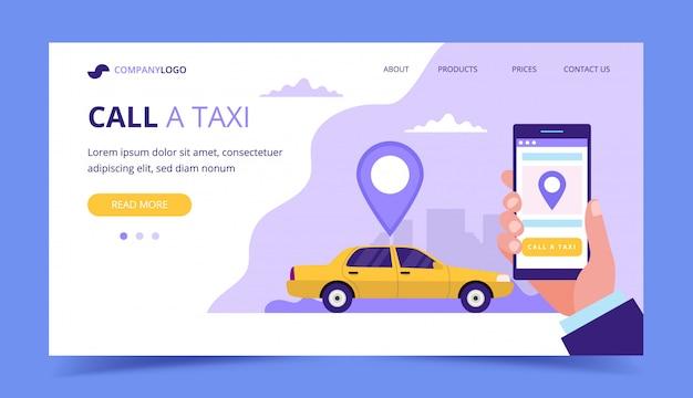 Zadzwoń Na Stronę Docelową Taksówki. Pojęcie Ilustracja Z Taxi Samochodem I Ręką Trzyma Smartphone. Premium Wektorów