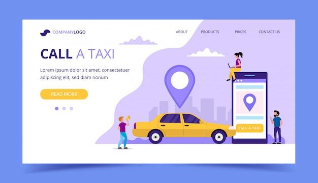 Zadzwoń na stronę docelową taksówki. Premium Wektorów