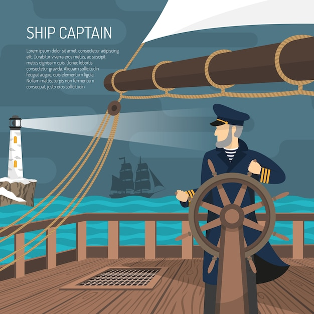Żaglowiec kapitan morski płaski plakat Darmowych Wektorów