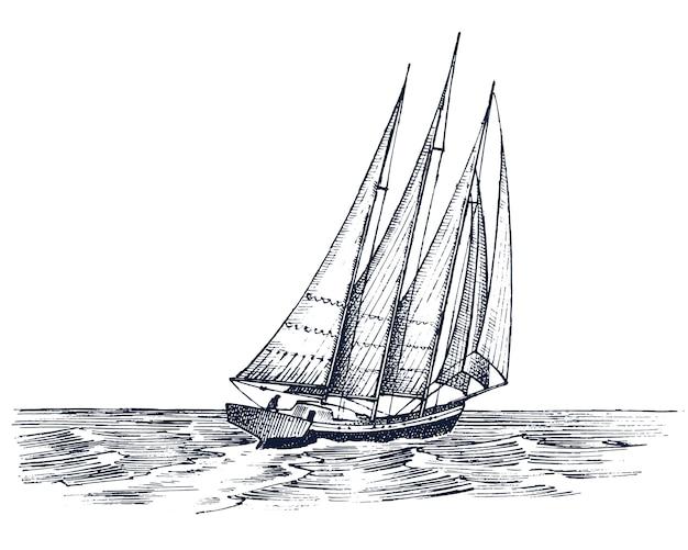 Żaglówka Na Morzu, Letnia Przygoda, Aktywne Wakacje. Premium Wektorów