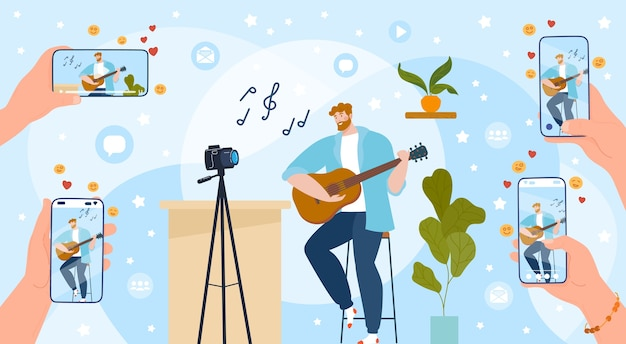 Zagraj W Ilustrację Online Na Gitarze. Premium Wektorów