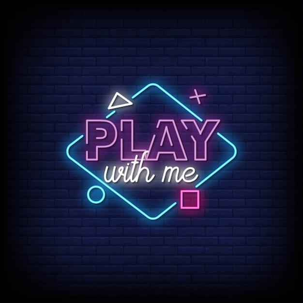 Zagraj Ze Mną Szyld Neon Na ścianie Z Cegły Premium Wektorów