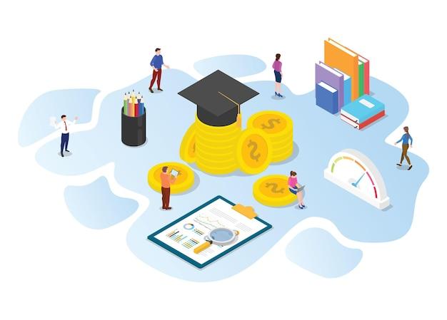 Zainwestuj W Koncepcję Edukacji Z Nowoczesną Ilustracją W Stylu Izometrycznym Lub 3d Premium Wektorów