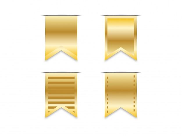Zakładka złota wstążka. Premium Wektorów