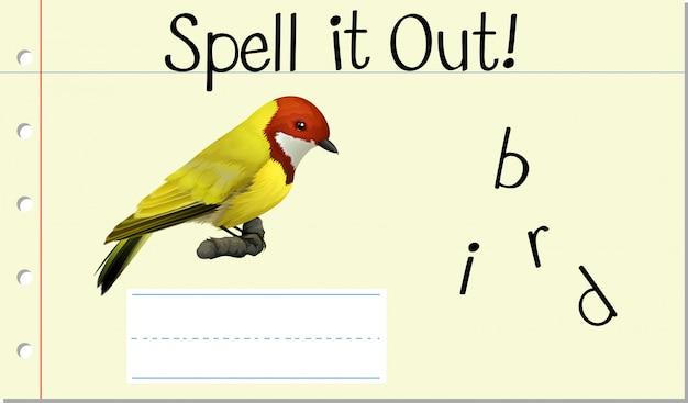 Zaklęcie angielskie słowo ptak Darmowych Wektorów