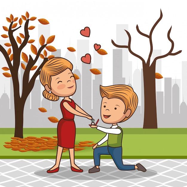 Zakochana para w parku Premium Wektorów