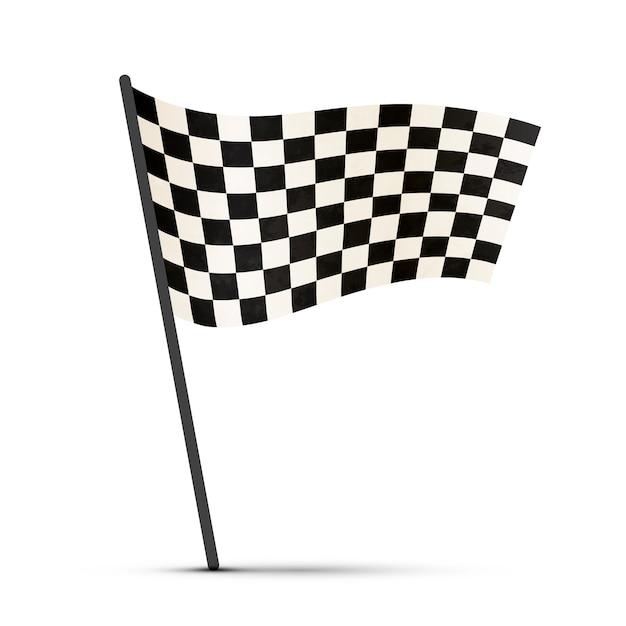 Zakończ Flagę Na Słupie Z Cieniem Premium Wektorów