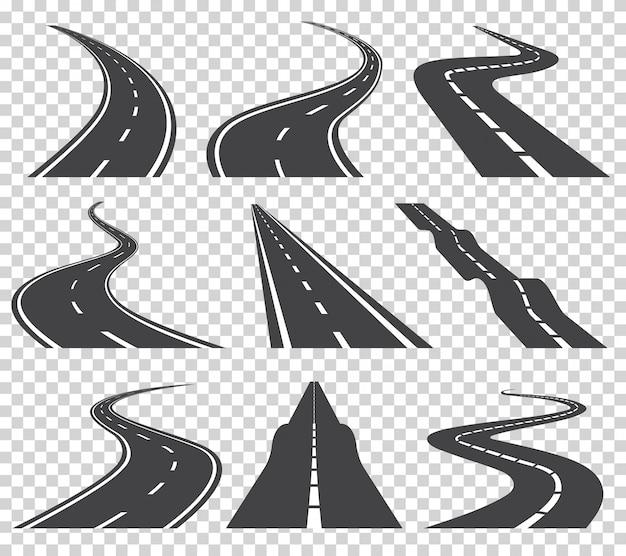 Zakrzywione Drogi Wektor Zestaw. Droga Asfaltowa Lub Droga I Zakrzywiona Autostrada. Kręta Zakrzywiona Droga Lub Autostrada Z Oznaczeniami Premium Wektorów