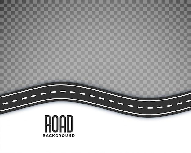 Zakrzywione tło drogi z białym oznaczeniem Darmowych Wektorów